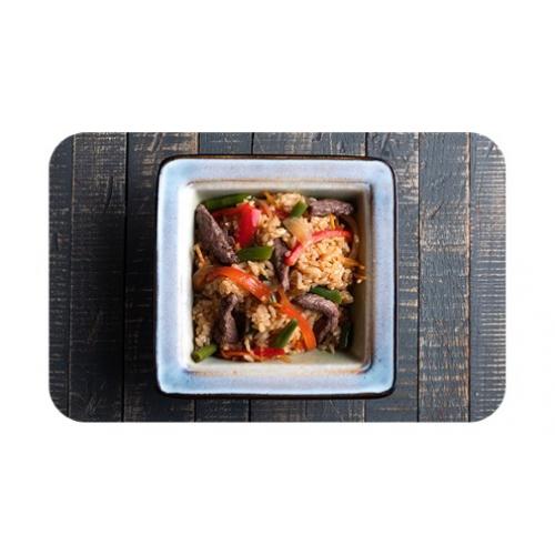 Японский плов с говядиной и овощами